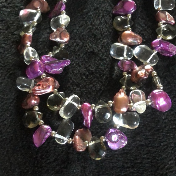 Amethyst crystal, crystal & abalone necklace